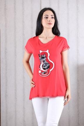 Orkide Kadın Mercan Iç Içe Kedi Baskılı Bisiklet Yaka Kolsuz T-Shirt 0