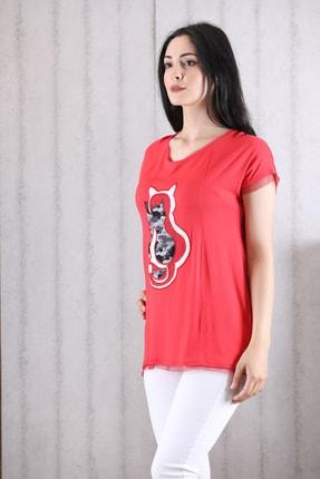 Orkide Kadın Mercan Iç Içe Kedi Baskılı Bisiklet Yaka Kolsuz T-Shirt 1