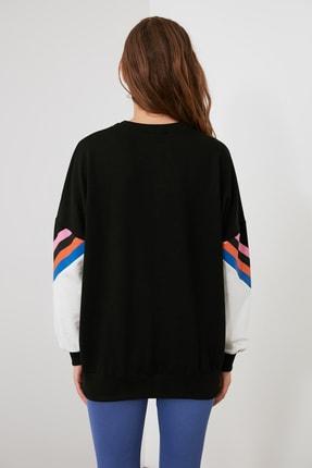 TRENDYOLMİLLA Siyah Baskılı Oversize Örme Sweatshirt TWOAW21SW0374 3