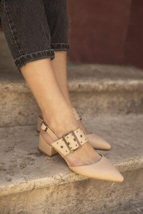 Straswans Amelia Deri Topuklu Ayakkabı Ten 1