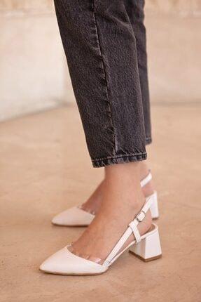 Straswans Roy Bayan Deri Topuklu Ayakkabı Beyaz 1