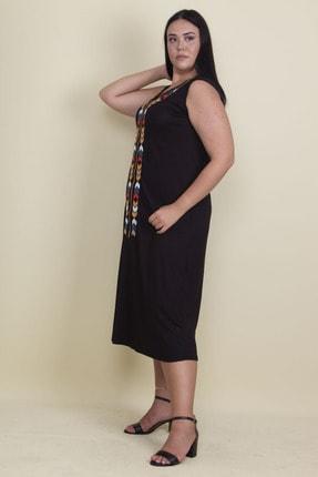 Şans Kadın Siyah Nakışlı V Yaka Viskon Elbise 65N17997 1