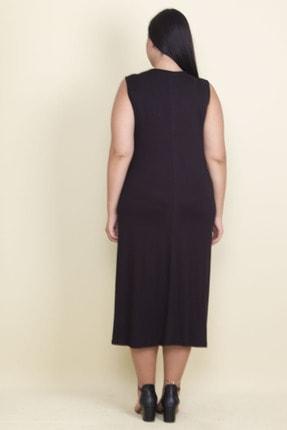 Şans Kadın Siyah Nakışlı V Yaka Viskon Elbise 65N17997 2