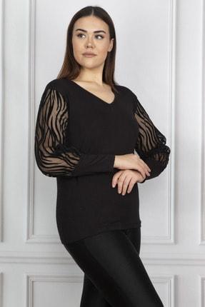 Şans Kadın Siyah Kolu Flok Tül Bluz 65N17976 2