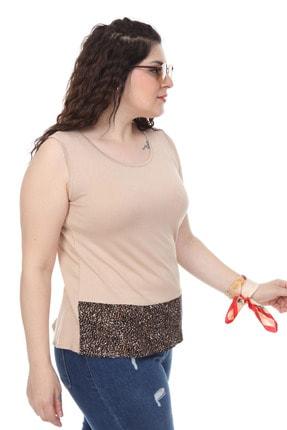 Şans Kadın Bej Garni Detaylı Kolsuz Bluz 65N18014 1