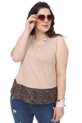 Şans Kadın Bej Garni Detaylı Kolsuz Bluz 65N18014 3