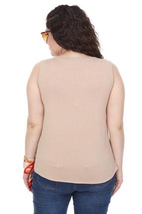 Şans Kadın Bej Garni Detaylı Kolsuz Bluz 65N18014 4