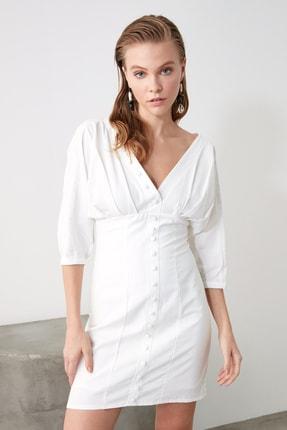 TRENDYOLMİLLA Ekru Düğmeli Elbise TWOSS20EL1068 3