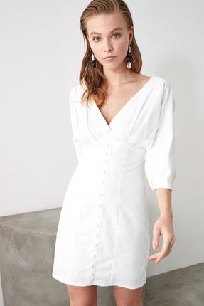 TRENDYOLMİLLA Ekru Düğmeli Elbise TWOSS20EL1068 4