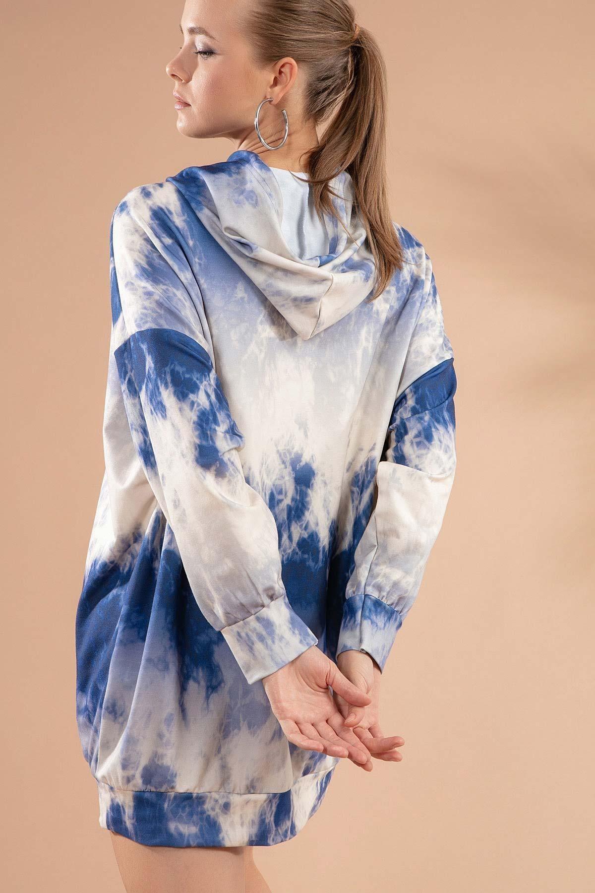 Pattaya Kadın Baskılı Kapşonlu Sweatshirt Elbise P20w-4125-3 3