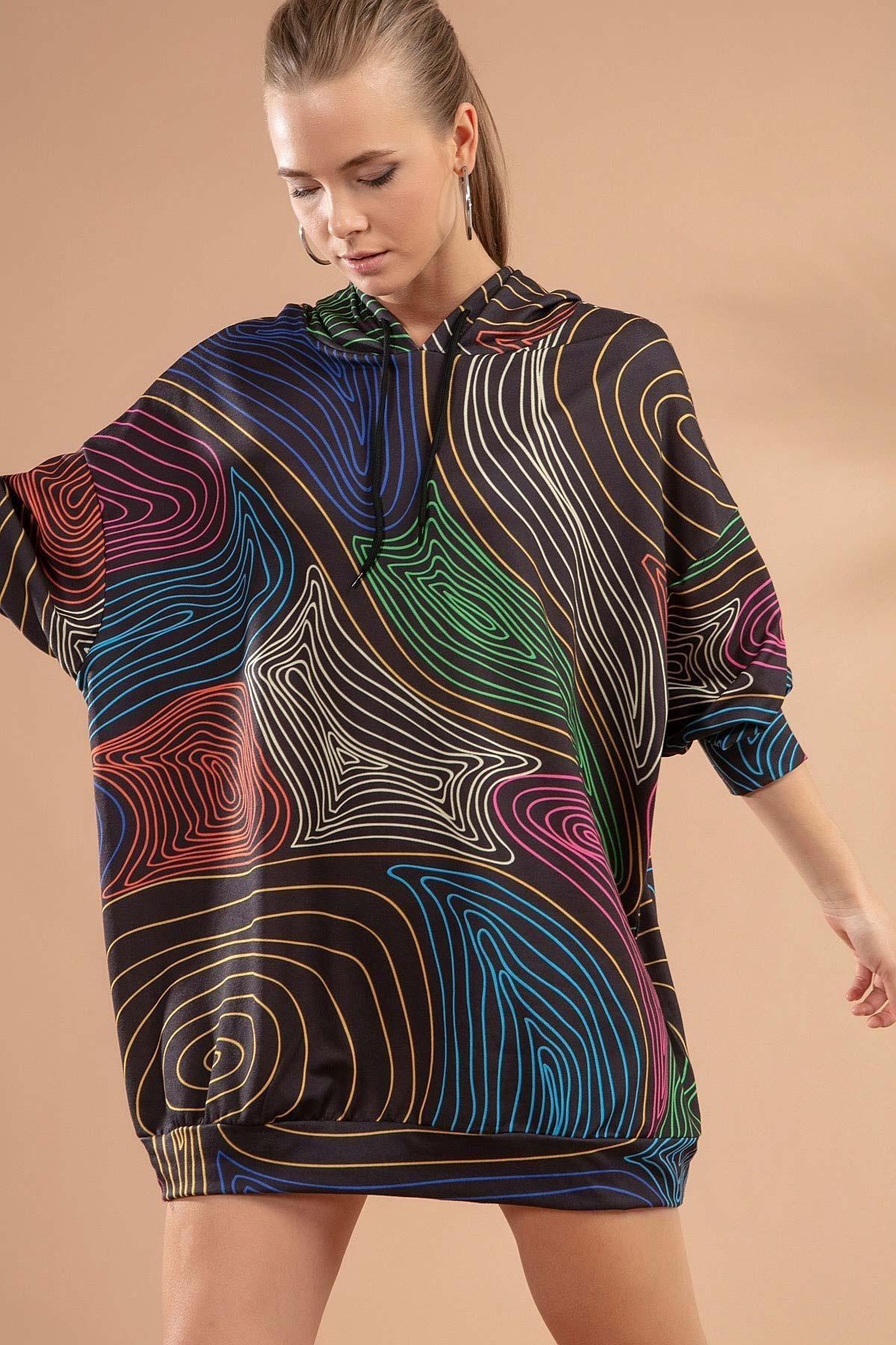 Pattaya Kadın Çizgili Kapşonlu Sweatshirt Elbise Y20w110-4125-18 1
