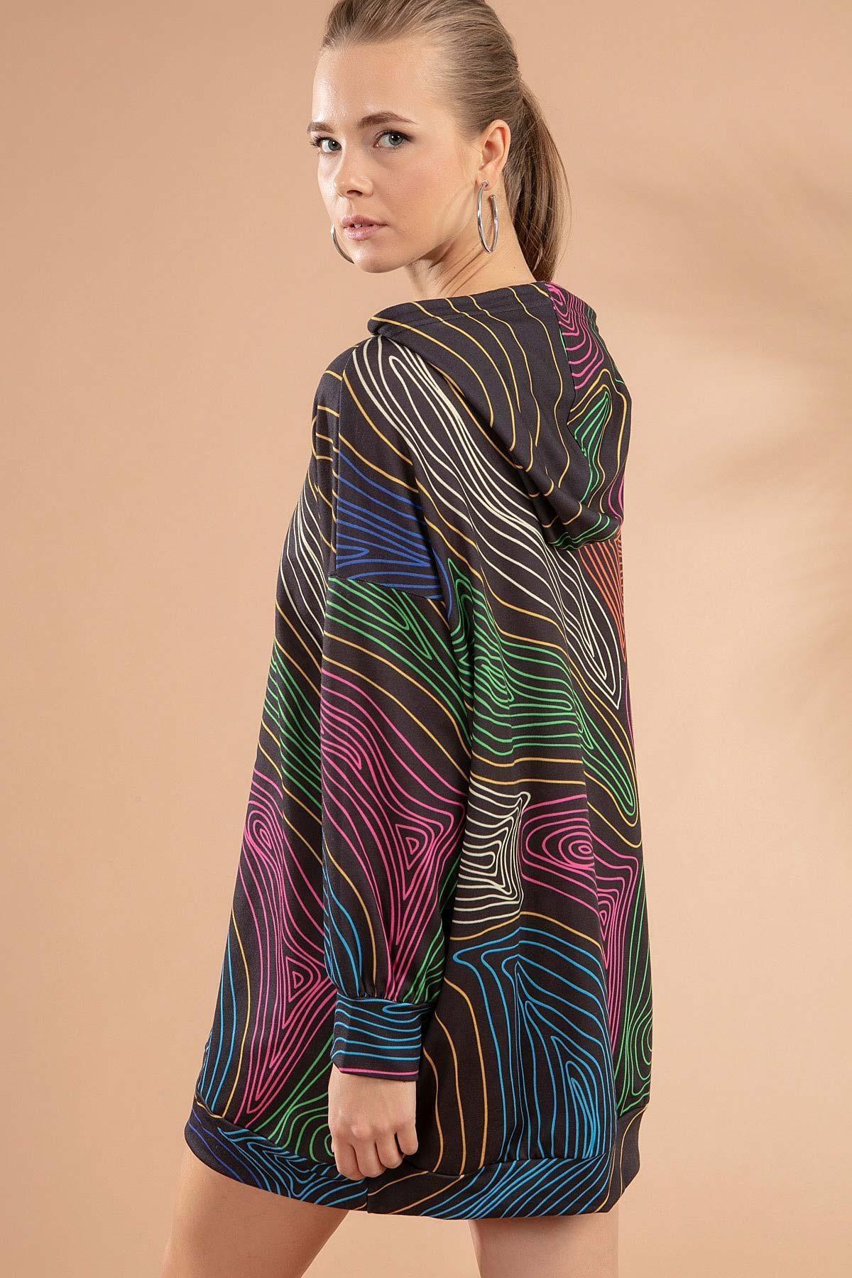 Pattaya Kadın Çizgili Kapşonlu Sweatshirt Elbise Y20w110-4125-18 3