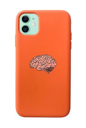Mupity Beyin Tasarımlı Turuncu Lansman Kılıf Iphone 11 0