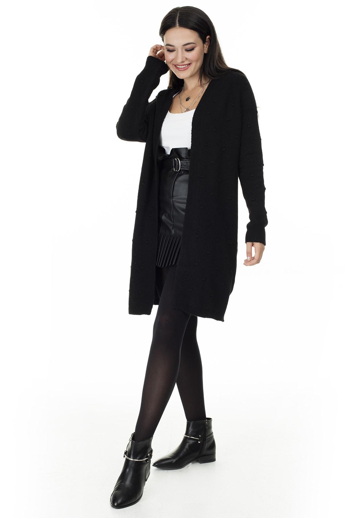 Lela Kadın Siyah Uzun Triko Hırka 4614825 3