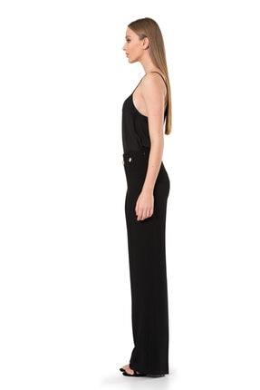 BİRELİN Kadın Siyah Düğme Detaylı Pantolon 2