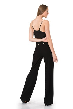 BİRELİN Kadın Siyah Düğme Detaylı Pantolon 3