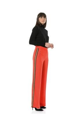 BİRELİN Kadın Kırmızı Bol Yüksek Belli Kenarı Şeritli Pantolon Collette 1