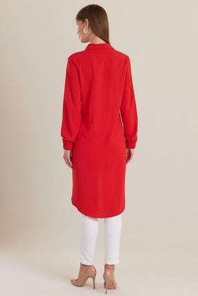 GÜLSELİ Kadın Kırmızı 3 Düğmeli Gömlek Tunik 3