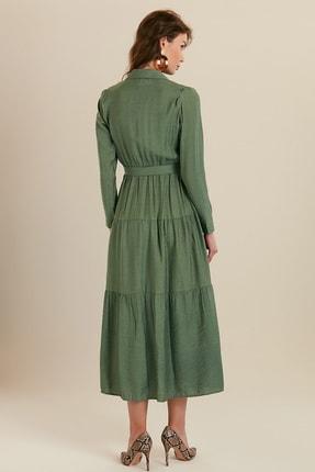 GÜLSELİ Kadın Mint Yeşili Gömlek Yaka Düğmeli Uzun Elbise 3