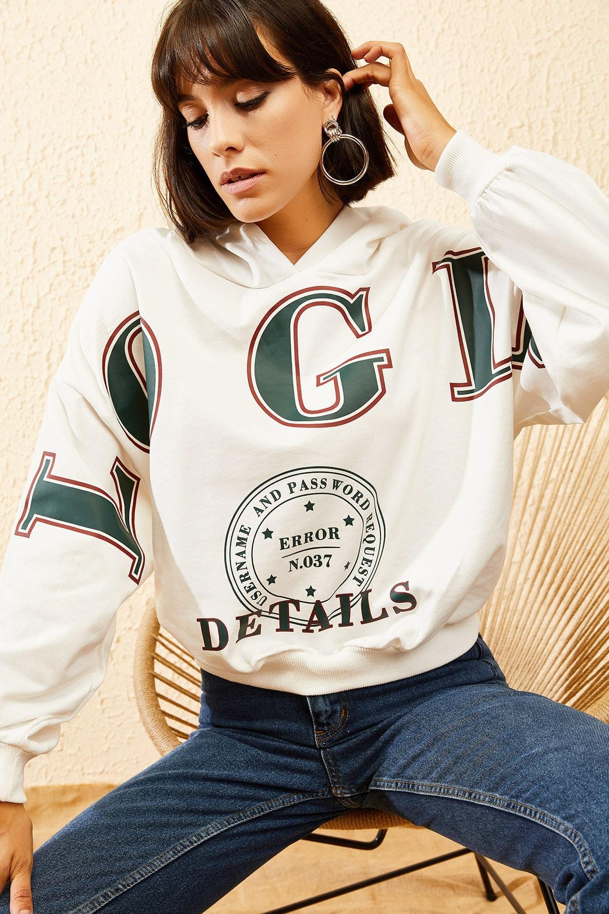 Bianco Lucci Kadın Beyaz Kapüşonlu Yeşil Login Baskılı Oversize Sweatshirt 10121035 3