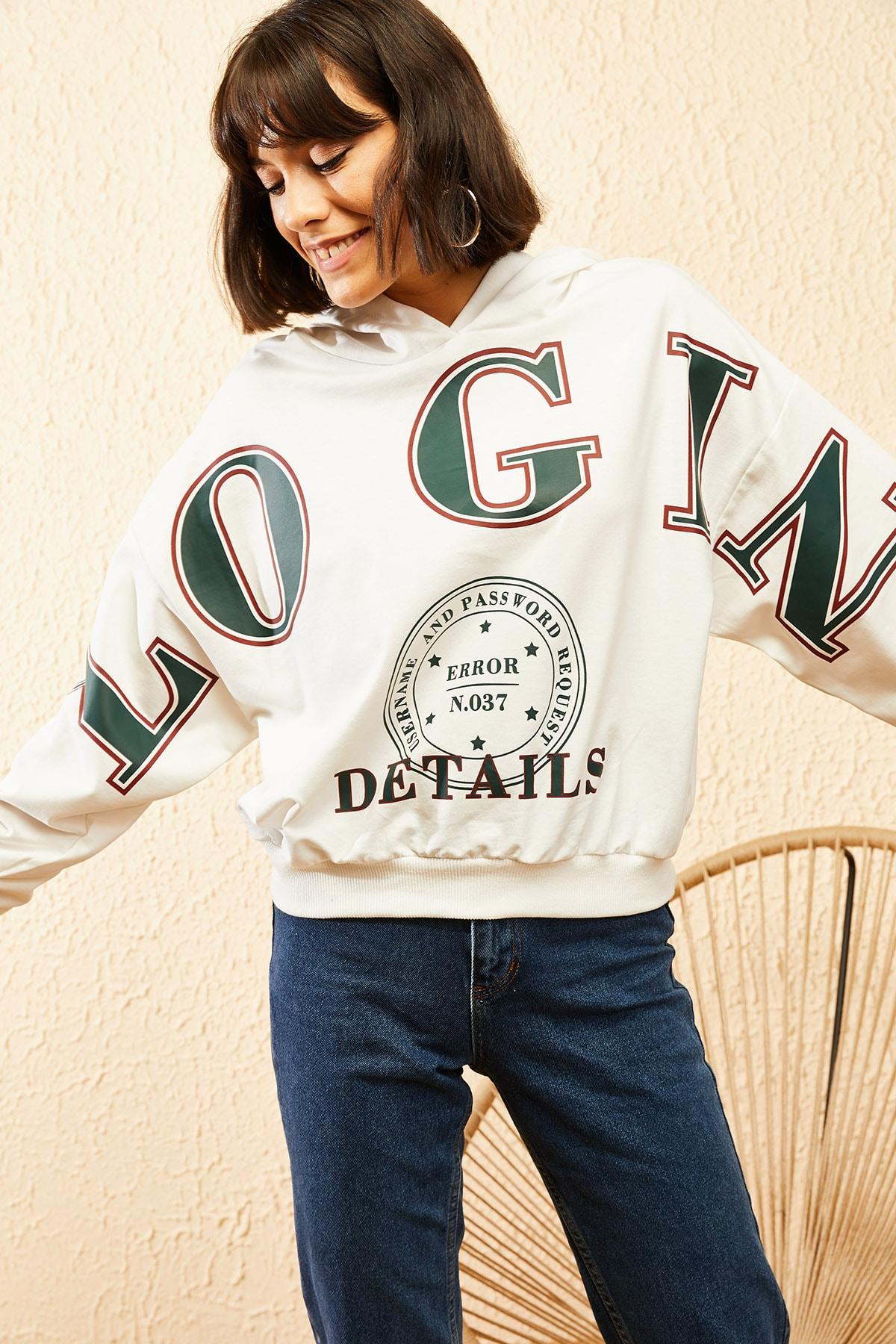 Bianco Lucci Kadın Beyaz Kapüşonlu Yeşil Login Baskılı Oversize Sweatshirt 10121035 4