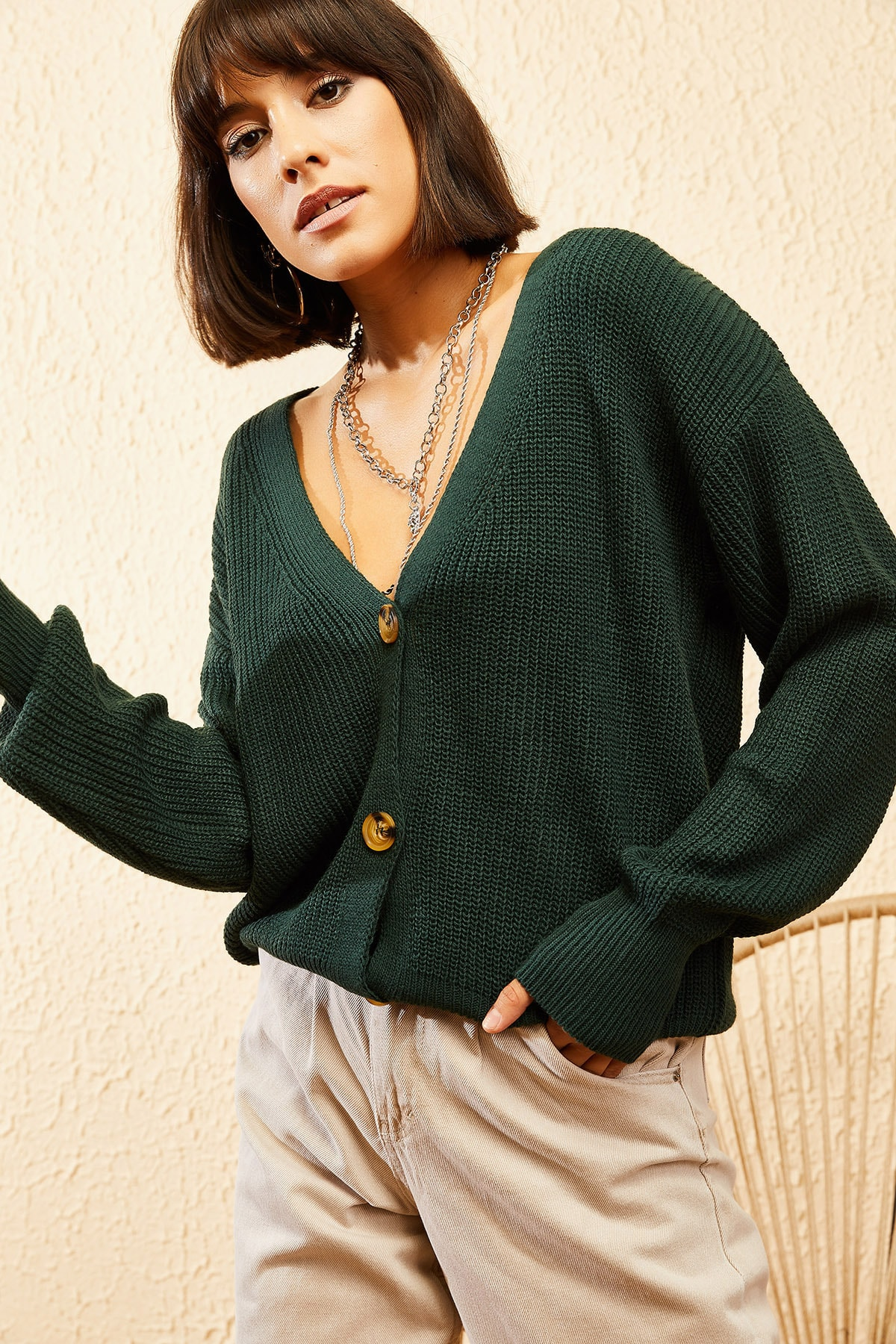 Bianco Lucci Kadın Yeşil 3 Düğmeli V Yaka Triko Hırka 10121004 2