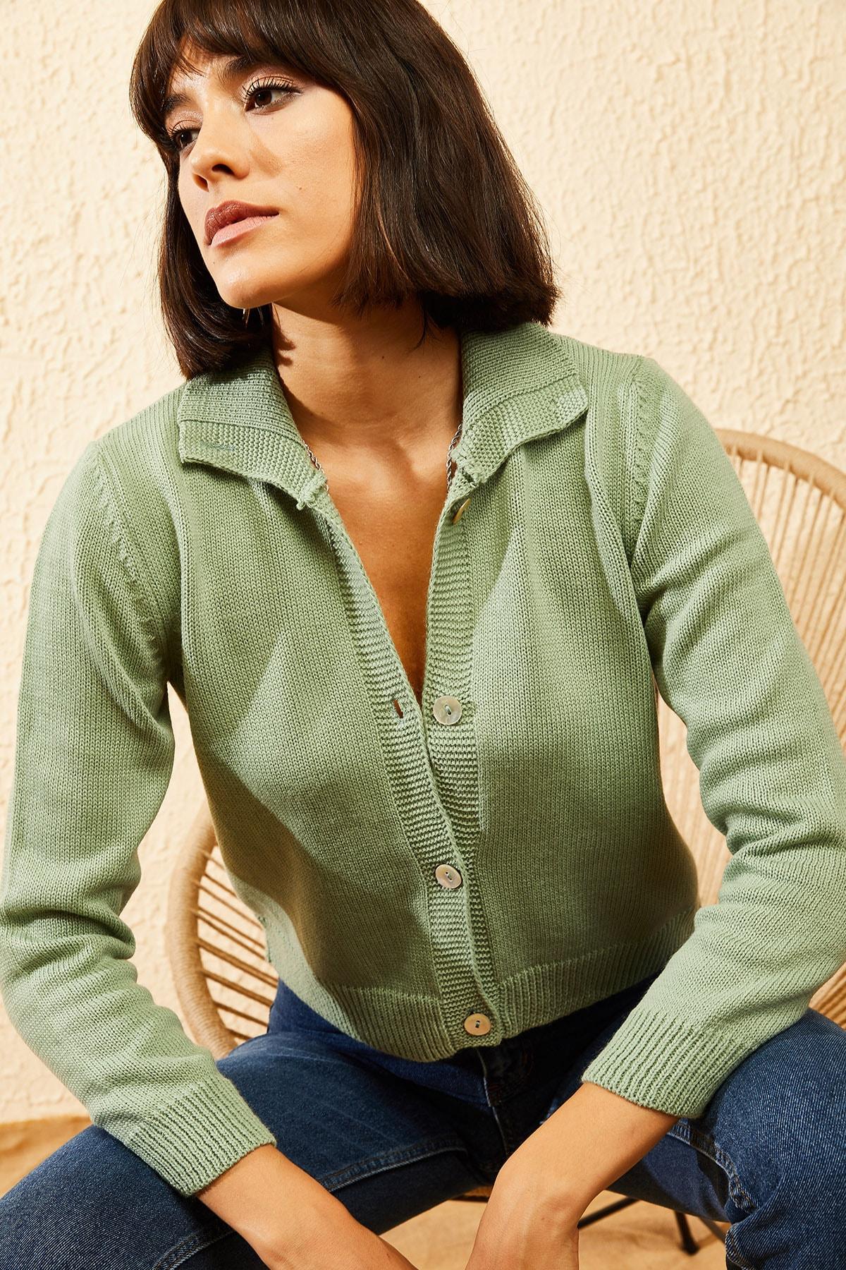 Bianco Lucci Kadın Çağla Yeşili Balıkçı Yaka Düğmeli Fitilli Hırka 10121003 0