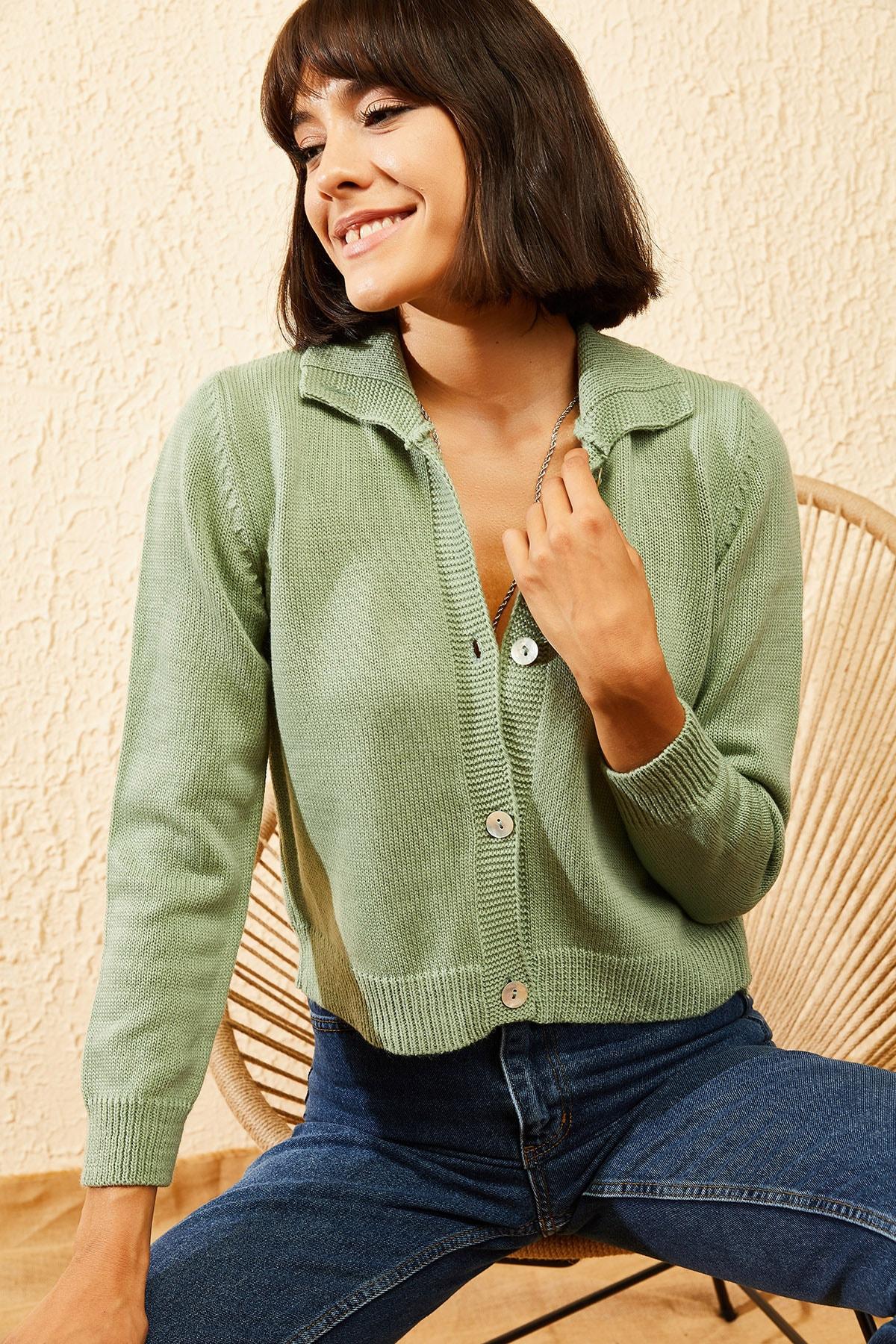 Bianco Lucci Kadın Çağla Yeşili Balıkçı Yaka Düğmeli Fitilli Hırka 10121003 2