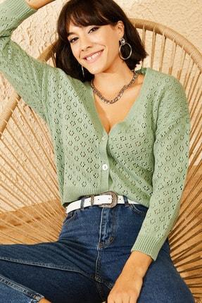 تصویر از ژاکت کش باف پشمی زنانه  سبز