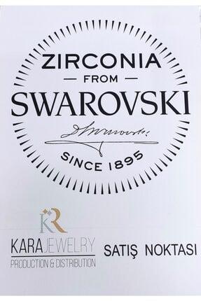 Kara Jewelry Kadın Beyaz Gümüş Küpe Swarovskı Taşlı Tektaş Küpe 4