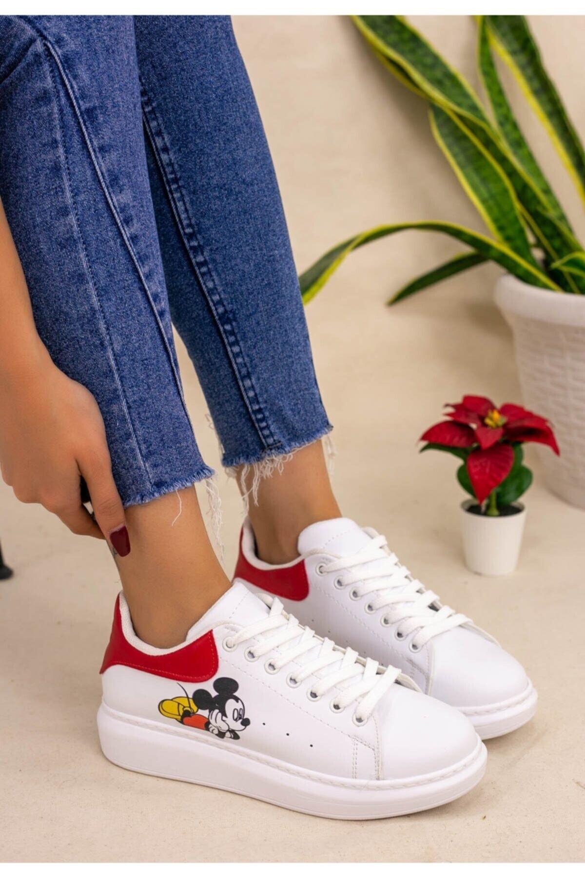 Erbilden Kadın Beyaz Mickey Mause Kırmızı Detaylı Spor Ayakkabı