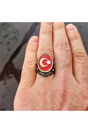 FKGÜMÜŞ Erkek Yüzük 925 Ayar Gümüş Kırmızı Mineli Ay Yıldız Işlemeli 1
