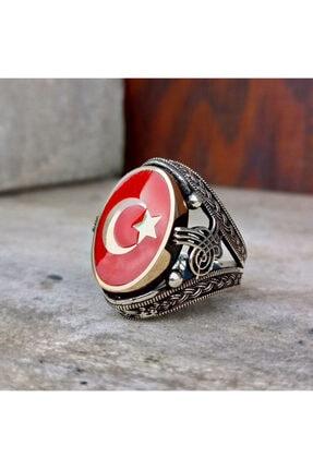 FKGÜMÜŞ Erkek Yüzük 925 Ayar Gümüş Kırmızı Mineli Ay Yıldız Işlemeli 4