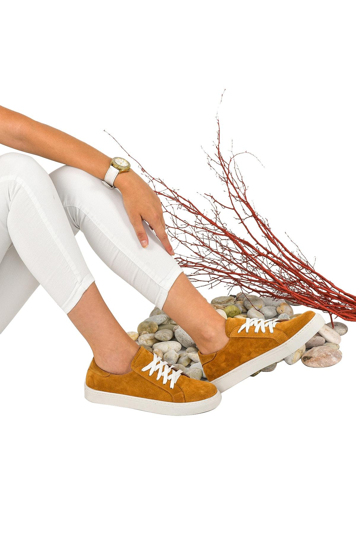 Kadın Taba Hakiki Deri Sneaker