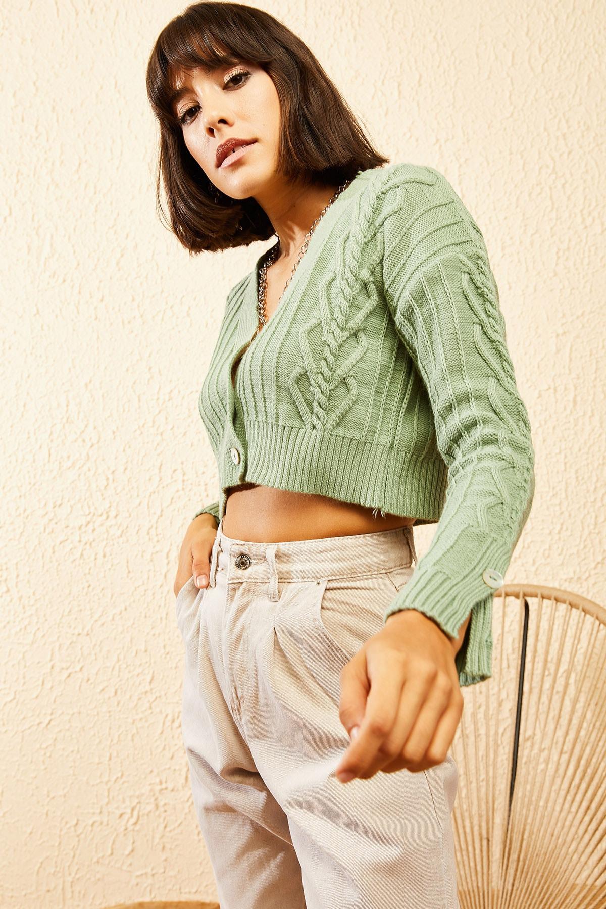Bianco Lucci Kadın Çağla Yeşili Sac Detaylı Düğmeli Triko Hırka 10121082 2