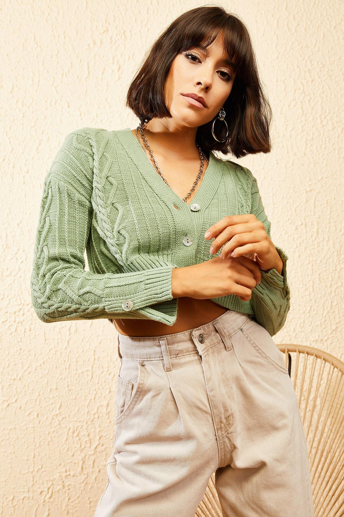 Bianco Lucci Kadın Çağla Yeşili Sac Detaylı Düğmeli Triko Hırka 10121082 3