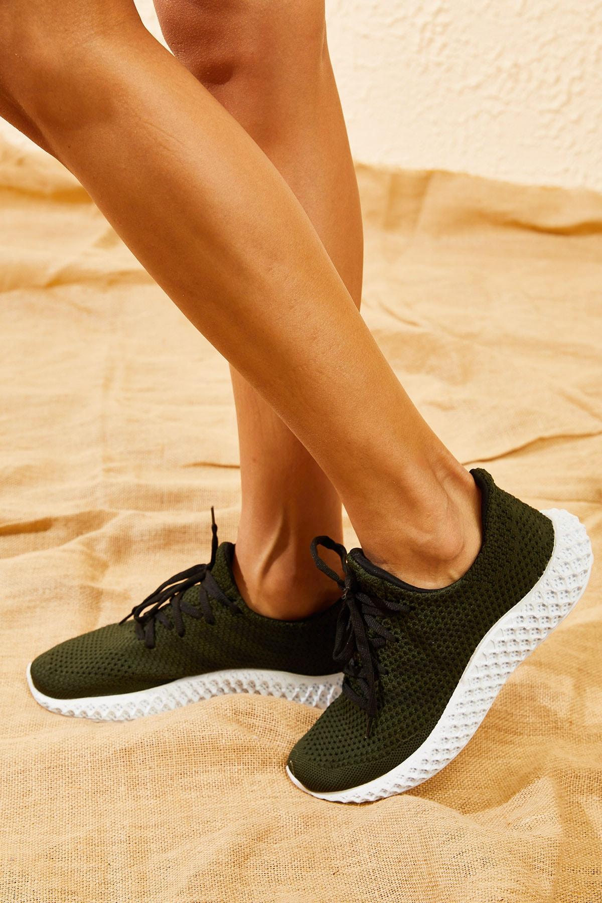 Bianco Lucci Kadın Haki Rahat Triko Örme Ayakkabı AYKB001 0