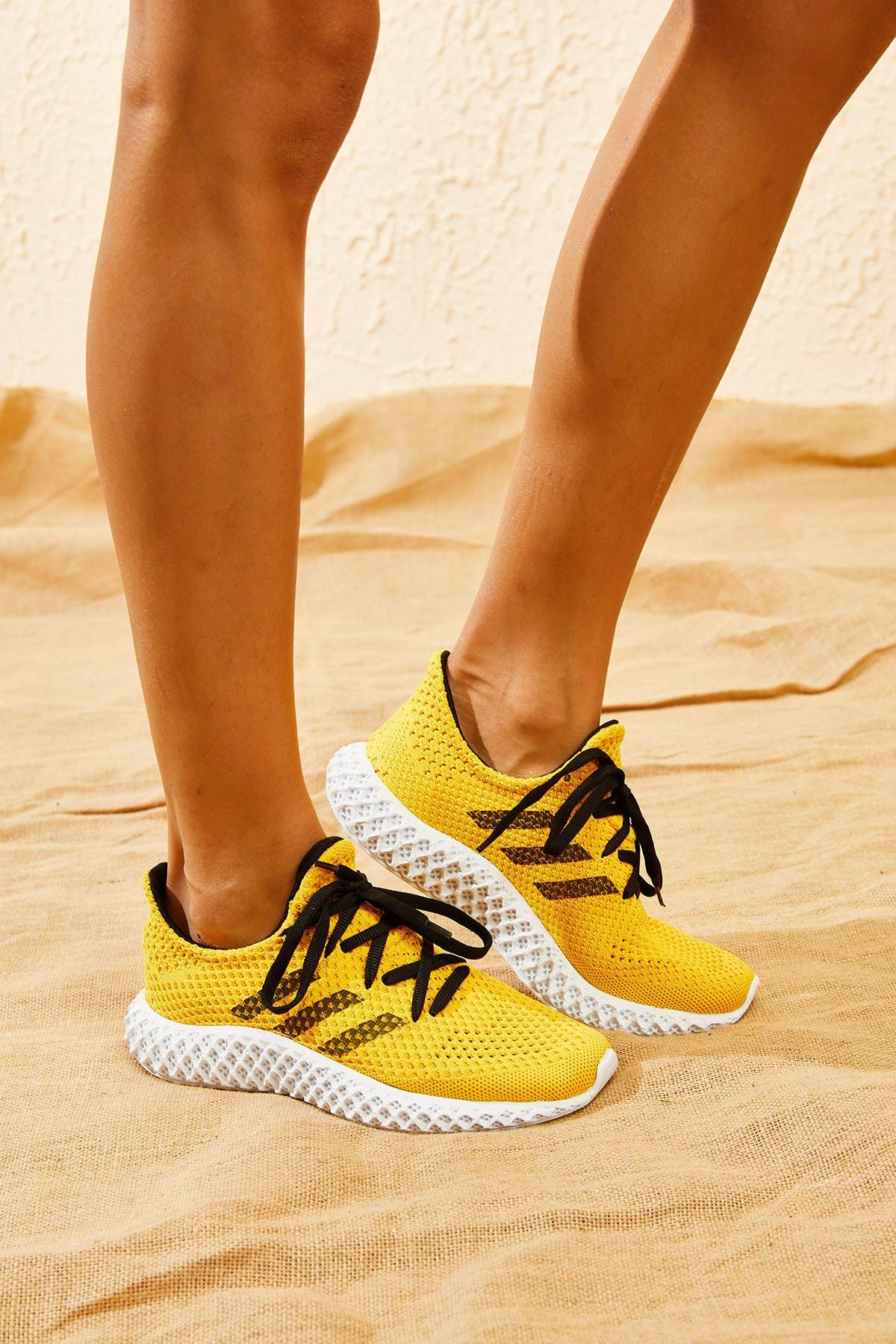 Bianco Lucci Kadın Sarı Rahat Triko Örme Ayakkabı AYKB001 1
