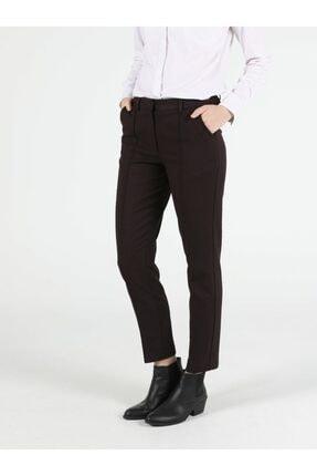 Colin's Slim Fit Orta Bel Düz Paça Kadın Bordo Pantolon 0
