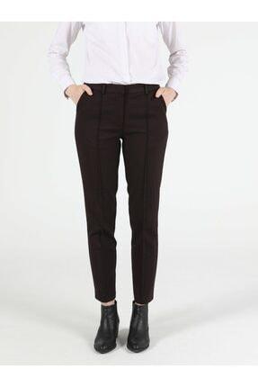 Colin's Slim Fit Orta Bel Düz Paça Kadın Bordo Pantolon 3
