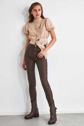 TRENDYOLMİLLA Koyu Kahverengi Kaplamalı Yüksek Bel Skinny Jeans TWOAW21JE0349 3