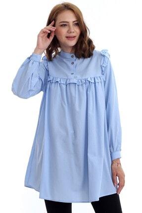 Kadın Modası Kadın Bebe Mavi Hakim Yakası Düğmeli Robası Fırfırlı Tunik 0