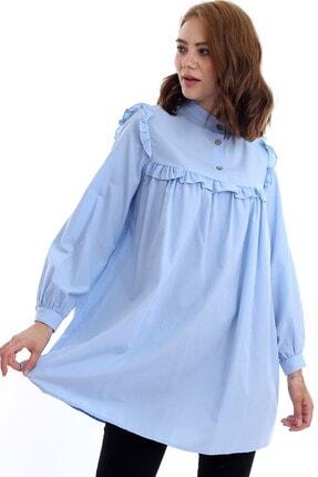 Kadın Modası Kadın Bebe Mavi Hakim Yakası Düğmeli Robası Fırfırlı Tunik 2