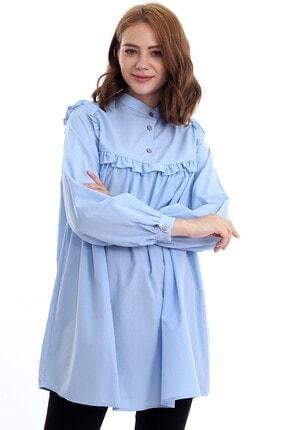 Kadın Modası Kadın Bebe Mavi Hakim Yakası Düğmeli Robası Fırfırlı Tunik 3