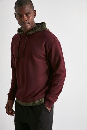 TRENDYOL MAN Bordo Erkek Ekose Kapüşonlu Regular Panelli Sweatshirt TMNAW21SW0810 3