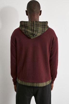 TRENDYOL MAN Bordo Erkek Ekose Kapüşonlu Regular Panelli Sweatshirt TMNAW21SW0810 4