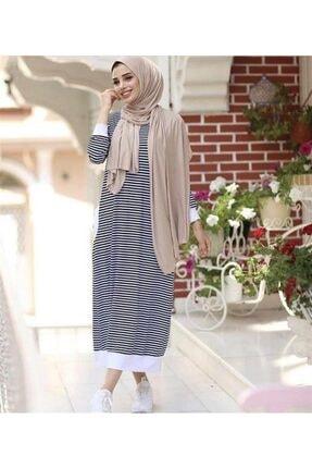 Qimene Kadın Siyah Beyaz Çizgili Penye Elbise 0