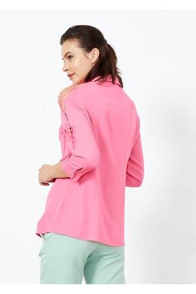 Adze Kadın Pembe Omuz İp Detaylı Yarım Kol Gömlek 2