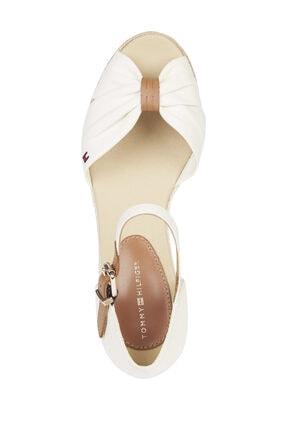Tommy Hilfiger Kadın Beyaz Sandalet Basıc Open Toe Mıd Wedge FW0FW04785 4