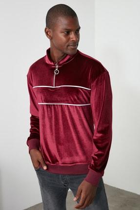 TRENDYOL MAN Bordo Erkek Panelli Fermuarlı Dik Yaka Regular Sweatshirt TMNAW21SW0363 0
